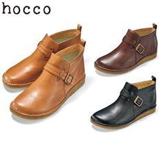 本革 ベルト付きショートブーツ(hocco)