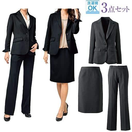 スーツ(3点セット)(ジャケット+スカート+パンツ)(洗濯機OK)