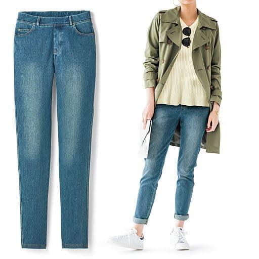 ニットデニムスキニーパンツ(スマートニットジーンズ)(美脚パンツ・SSサイズ・選べる3レングス)