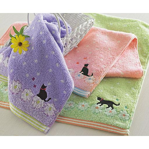 ねこ柄刺繍ふんわりタオル