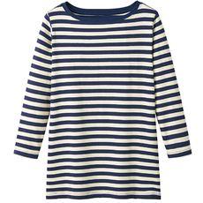 ボートネック7分袖Tシャツ(ボーダー&無地 肌触りやわらかいカラバリ豊富なデイリーTシャツ)