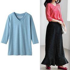 シンプルVネックTシャツ(七分袖)