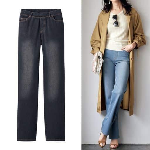 ニットデニムストレートパンツ(スマートニットジーンズ)(美脚パンツ・SSサイズ・選べる3レングス)