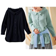 抜き衿デザインシャツ(綿100%)
