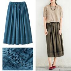 ドビー刺繍コットンスカート(綿100%)