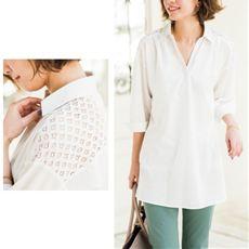 肩レース使いチュニックシャツ(綿100%)