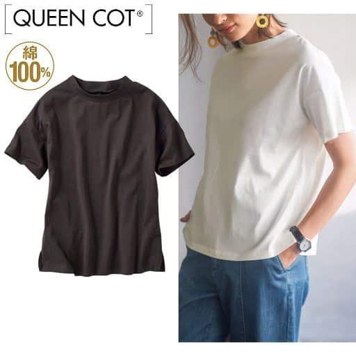 大人きれいなコットンモックネックTシャツ