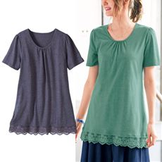 裾レースロングTシャツ(L~10L)