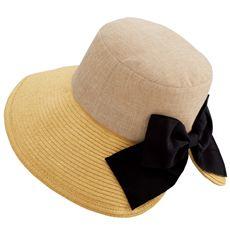 異素材使いリボンエミリー帽子(UVカット・抗菌防臭)