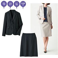 洗えるストレッチスカートスーツ(テーラドジャケット+セミフレアスカート)(接触冷感・吸汗速乾・形態安定)