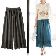 スカラップ裾刺繍ガウチョパンツ(綿100%)