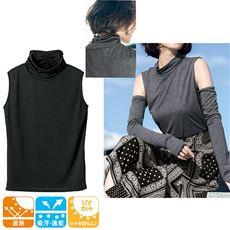 UVカットルーズネックノースリーブTシャツ(吸汗速乾・遮熱・M~5L)