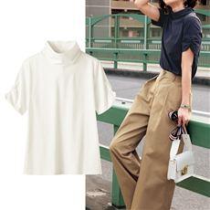 ハイネックTシャツ(半袖)(綿100%・S~5L)
