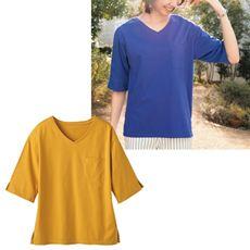 ボックスシルエットTシャツ(5分袖)(綿100%・S~5L)