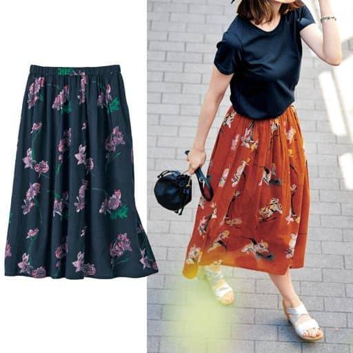 夏の心が解き放たれる花柄スカート。
