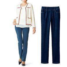 ニットデニムプルオンストレートパンツ(スマートニットジーンズ)(美脚パンツ・選べる3レングス)