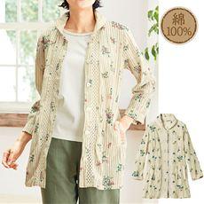 ボリューム衿シャツチュニック(綿100%)