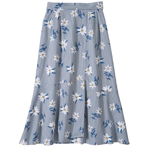 ストライプ×フラワープリントスカート