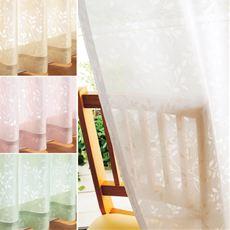 リーフ柄の防炎ミラーレースカーテン(UVカット)