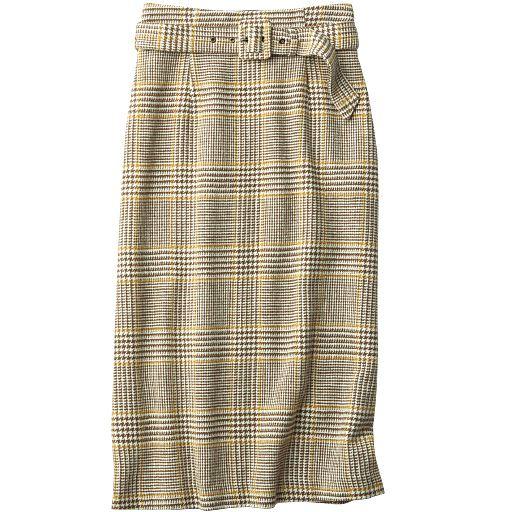 共地ベルト付きチェック柄ロングスカート