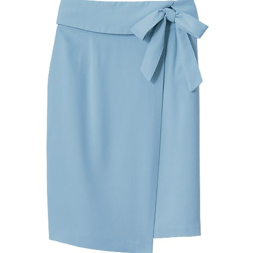 共地リボンベルト付きラップ風スカート