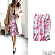 花柄プリントタイトスカート