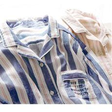 コットンガーゼのシャツパジャマ(綿100%)