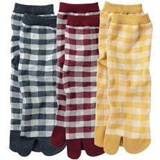 柄がかわいい足袋型ソックス・色違い3足組