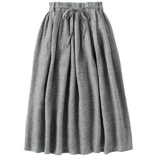 表起毛リネンコットンのギャザースカート(ベルト付)
