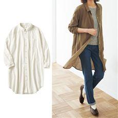 洗いざらしコットンのロングシャツ(綿100%)