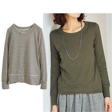 ムラ糸天竺のねじりデザイン長袖Tシャツ(綿100%)