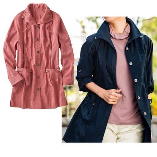 微光沢感とナチュラルなシワ感がポイント。薄手で羽織りやすいカジュアルジャケット