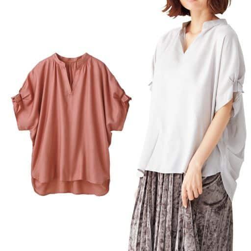 ちょっぴり辛口な大人デコルテをつくるスキッパーシャツ。袖口と後ろ身頃のタックでふわりとした女っぽさも手に入れて♪