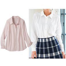 カットソーシャツ(長袖)■らくちん着心地なのに見た目きっちりきれいめ◎