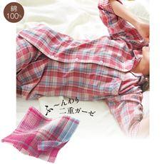 ゆったりダブルガーゼシャツパジャマ(綿100%・チェック柄)