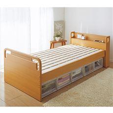 柔らかな曲線でデザインされたフレームが立ち座りの際に便利な高さ調節可能なベッド。床面は高さが29cmから3センチ刻みで5段階(29・32・35・38・41cm)の調節が可能です。ご使用になる方の体格やベッドに置くマットレスや布団の厚さに合わせて調節いただけます。