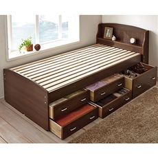 通気性に優れたすのこベッドの下に大容量の引出しをつけた「チェストベッド」です。限られたスペースの中でたくさんの家具は置けないけれど、このベッドを使えばオフシーズンの衣料などはベッド下に収納できて部屋のスペースを有効活用できます。引出しの設置は左右選べます。