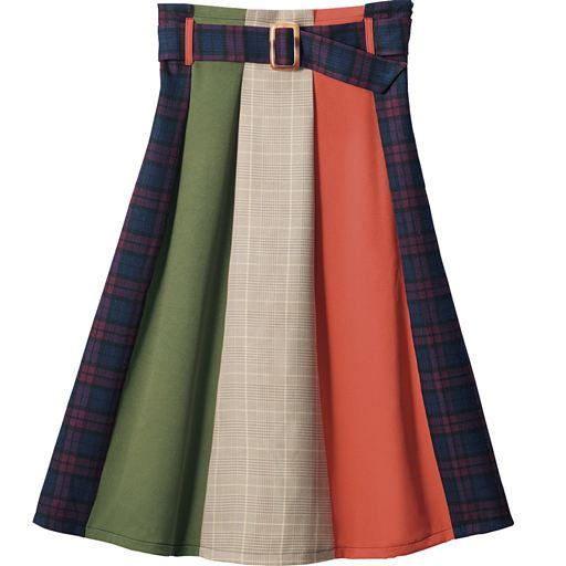 共地ベルト付き異素材配色スカート