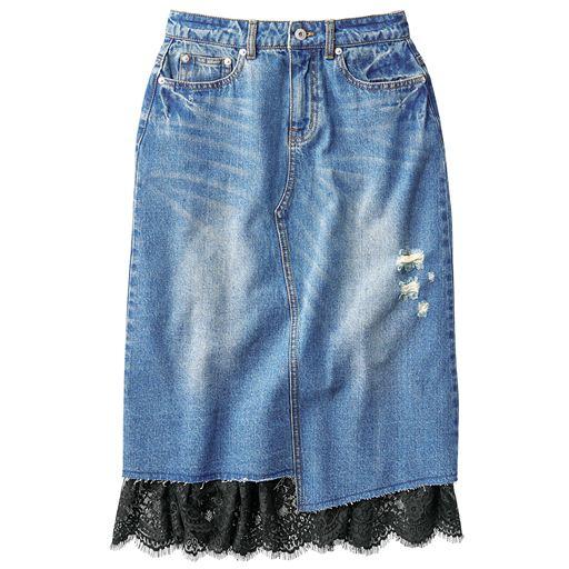 ペチスカート付きリメイク風デニムスカート