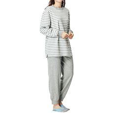 ボーダー柄のあったかスウェットパジャマ(男女兼用・ペア)