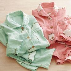 ひつじ柄のネルシャツパジャマ(綿100%)
