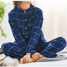 スタンドカラーのネルパジャマ(綿100%)