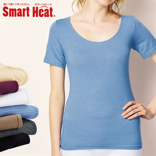 薄い、軽い、着た瞬間からあったかい、 新「スマートヒート®」の衿元すっきりの3分袖インナー