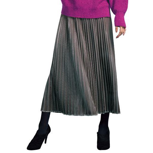細コールベロアプリーツスカート