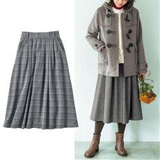 ツイード調コットン混素材のタック使いスカート