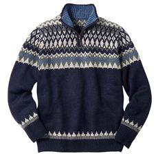 ノルディック柄ニットハーフジップセーター。うれしいウォッシャブル仕様