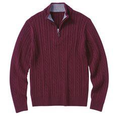 発熱ニットハーフジップセーター。洗濯機洗いOKなウール混ニット素材!!
