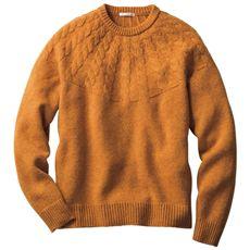 日本製ホールガーメント®セーター トレンドの求心柄ケーブル編みニット