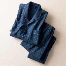 日本製 綿100%ビエラ起毛小紋柄プリント紳士パジャマ