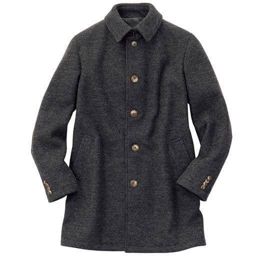 軽量メルトン素材のステンカラーコート。ウール混の圧縮ニットだから着心地◎